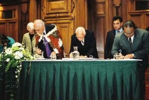 Ngati Awa kaumatua signing Deed of Settlement in 2002