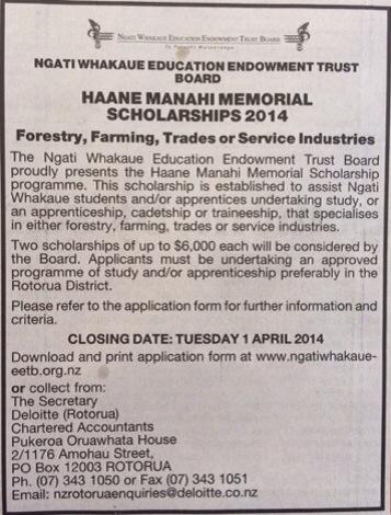 Ngati Whakaue Haane Manahi Memorial Scholarships 2014